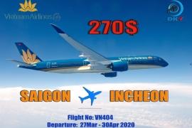 VIETNAM AIRLINES MỞ BÁN HÀNH TRÌNH SAIGON-INCHEON | GIÁ VÉ TỪ 270$